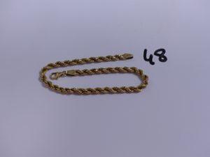 1 bracelet en or maille corde (L19,5cm). PB 3,5g