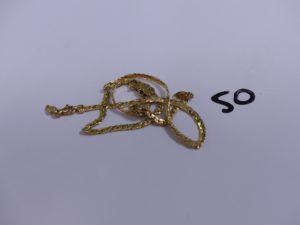 2 bracelets maille haricot en or pour l a casse. PB 5g