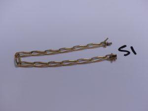 1 bracelet maille alternée en or (L21cm). PB 13,7g