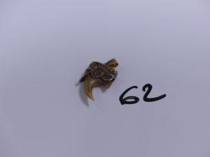 1 pendentif griffe monture à motif filigrané en alliage 14K (griffe cassée)PB 6g