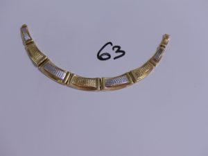 1 morceau de collier maille articulée bicolore en or. PB 13g
