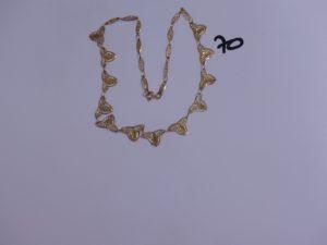1 collier draperie ras de cou en or (a été réparé, 1 soudure en métal aux 2 anneaux de bout, Diamètre 10cm). PB 6,8g