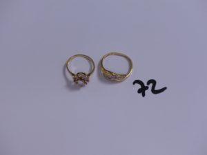 2 bagues en or ornées de pierres (Td 49/56). PB 4,7g