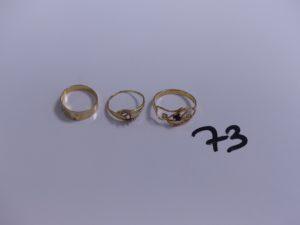 3 bagues en or (1 ouvragée, Td50)(1 monture cassée ornée d'une petite pierre, Td53)(1 chaton central vide, Td50). PB 4,1g