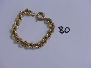 1 bracelet maille épi en or (L20cm). PB 24,1g