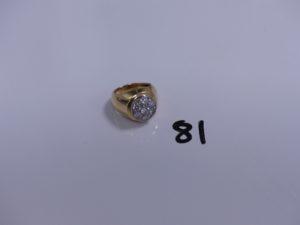 1 bague en or et platine motif central orné de diamants taille brillant (Td48). PB 9,4g