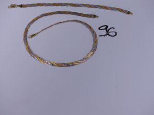 1 collier 3 ors maille tressée (L40cm) et son bracelet assorti (L18cm). PB 21,4g