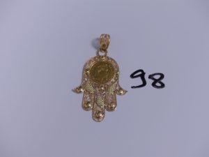 1 pendentif main en or orné d'une pièce de 10Frs. PB 11,3g