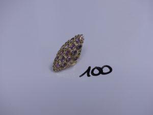 1 bague marquise en or ornée de pierres violettes et petites pierres blanches (Td47). PB 6,5g
