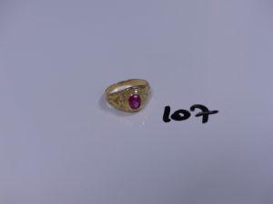1 bague en or réhaussée d'une pierre rose (Td56). PB 5,2g