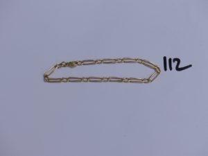 1 bracelet maille alternée en or (L19,5cm). PB 6,3g
