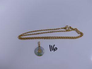 1 chaine maille forçat en or 24K (L69cm) et 1 pendentif pierre de jade monture en or. PB 41,2g