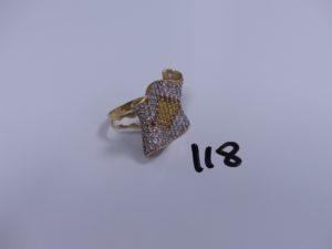 1 bague monture en or ornée de pierres (Td63, 1 chaton vide). PB 14,3g