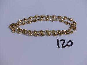 1 chaine maille grain de café en or (L45cm). PB 14,4g