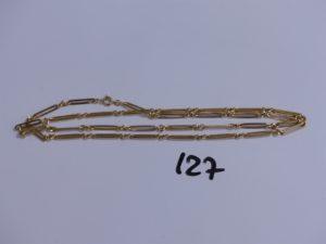 1 chaine maille alternée en or (L65cm). PB 6,6g