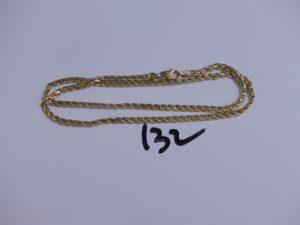 1 chaine maille festonnée abimée (L43cm). PB 4,5g
