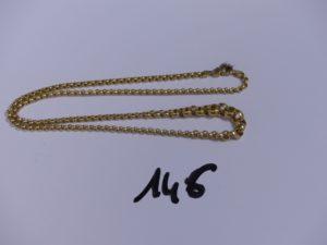1 collier maille jaseron en or (L40cm). PB 6,6g