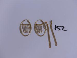 4 boucles en or (2 créoles allongées avec motifs en pampille)(2 pendants petites boules). PB 6,5g