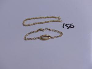 2 bracelets en or (1 boules polies et granitées, L18cm)(1 maille fantaisie, cabossé, L18cm). PB 6,9g