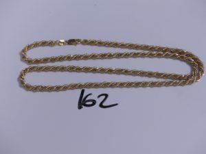 1 chaine en or bicolore maille corde (L60cm). PB 25,6g