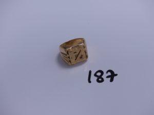 """1 chevalière en or initiale """"PC"""" (Td62). PB 13,1g"""