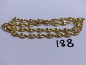 1 collier maille grain de café creuse (fragile, L 56cm). PB 11,3g
