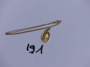 1 chaine maille forçat en or (L 40cm) et 1 médaille de la vierge en or. PB 5,4g