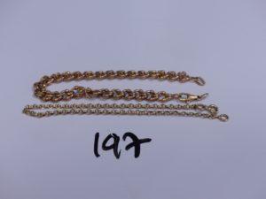 2 bracelets maille tréssée en or (1 fermoir cassé, L 21cm, 1 fermoir à fixer, L 19cm). PB 23,4g