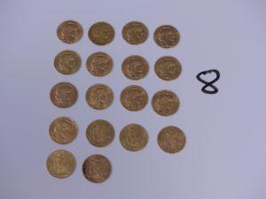 18 Pièces de 20 Francs république française (1906, 1911, 1904, 1851A, 1912, 1901, 1905, 1909, 1907, 1910, 1895A, 1878A, 1877A, 1897A). PB 116g