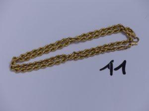 1 Chaîne en or maille corde (L47cm). PB 9,6g