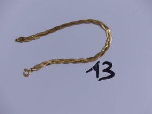 1 Bracelet en or maille tréssée (L18cm). PB 3,2g