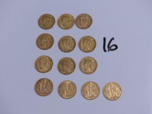 9 Pièces de 20 Francs Napolèon III (A1866, 1856A, A1861, 1855A, 1859A, B1866, 1857A, 1859A) et 4 pièces de 20 Francs république française (1889A, 1877A, 1876A, 1898A), le tout en or. PB 83,50g