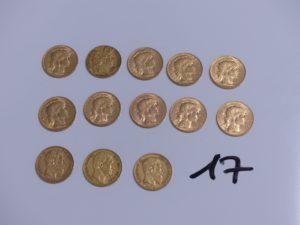 10 Pièces de 20 Francs république française (1910, 1913, 1911, 1905, A1851, 1907, 1906) et 3 pièces de 20 Francs LeopoldII et premier (1877, 1865), le tout en or. PB 83,7g