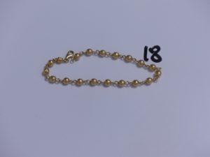 1 Bracelet boules en or (cabossé, L20cm). PB 6,1g