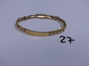 1 Bracelet en or maille haricot avec plaque d'identité (L24cm). PB 63,5g