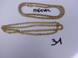 1 Chaîne en or maille marine (L52cm). PB 8,7g + 1 chaîne en métal