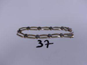 1 Bracelet en or maille articulée bicolore (L21cm). PB 18g