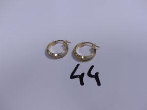 1 Paire de créoles en or bicolore. PB 2 ,5g