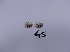 1 Paire de boucles en or ornée de pierres bleues et de petits diamants. PB 4,4g