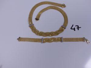 1 Collier en or maille tréssée réhaussé de 2 motifs ornés de petites pierres (L45cm) et 1 bracelet en or maille tréssée réhaussé de 2 motifs ornés de petites pierres (L19cm). PB 26,8g