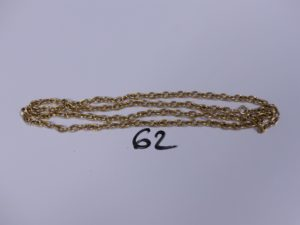 1 Chaîne en or maille jaseron striée (L72cm). PB 9,5g