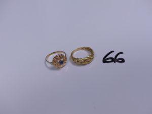 2 Bagues en or (1 motif central tréssé, Td55)(1 bicolore réhaussée d'une pierre bleue, Td54). PB 5g