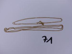 2 chaînes en or (1 maille gourmette, L52cm)(1 maille forçat, L50cm). PB 5,3g