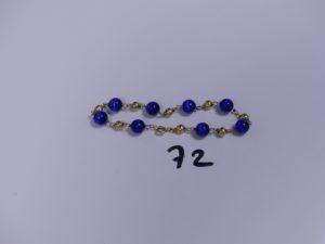 1 Bracelet or et perles (boules cabossées, L19cm). PB 8,5g