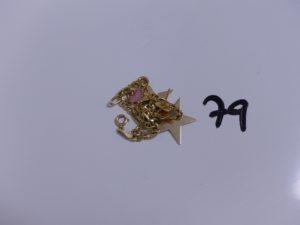 1 Lot casse en or (petit motif emaillé). PB 4,6g
