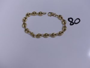 1 Bracelet en or maille grain de café (L19cm). PB 9,9g
