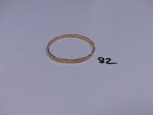 1 Bracelet en or ouvragé cassé (très fra fragile, petite soudure bas titre, diamètre 7cm). PB 6,9g