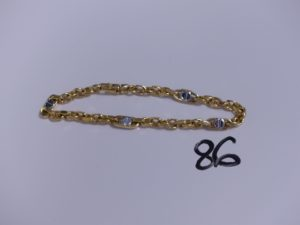 1 Bracelet en or bicolore maille alternée (L20cm). PB 8,4g