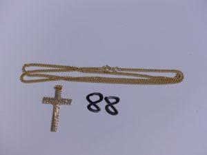 1 Chaîne en or maille gourmette (L50cm) et 1 croix en or. PB 11,5g