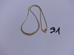 1 Collier en or maille palmier (L41cm). PB 5g